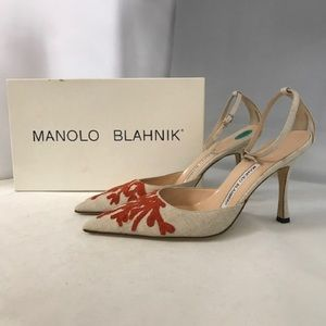 Manolo Blahnik Pointed Toe Canvas Heels